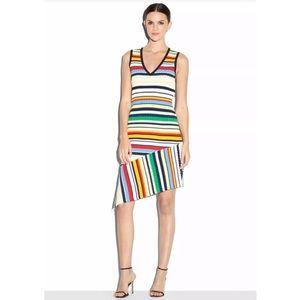 Milly large Asymmetric Pop Striped Dress Midi